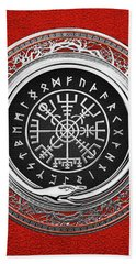 Vegvisir - A Silver Magic Viking Runic Compass On Red Leather  Bath Towel