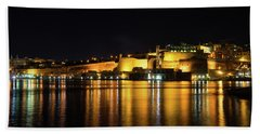 Velvety Reflections - Valletta Grand Harbour At Night Hand Towel