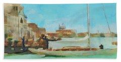 Venetian Canal Hand Towel by Sergey Lukashin
