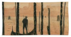 Venetian Gondolier In The Sunset Bath Towel