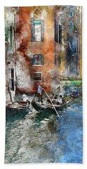 Venetian Gondolier In Venice Italy Hand Towel
