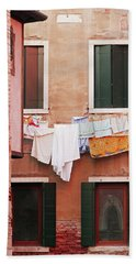 Hand Towel featuring the photograph Venetian Laundry In Peach And Pink by Brooke T Ryan