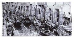 Venice Canal - Ballpoint Pen Art Bath Towel