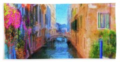 Venice Canal Painting Bath Towel by Michael Cleere