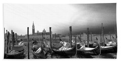Venice Gondolas Black And White Bath Towel by Rebecca Margraf