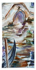 Hand Towel featuring the painting Venice Impression I by Xueling Zou