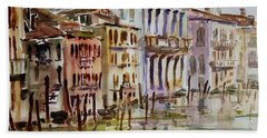 Hand Towel featuring the painting Venice Impression II by Xueling Zou