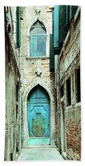 Venice Italy Turquoise Blue Door  Hand Towel
