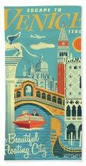 Venice Retro Travel Poster Bath Towel