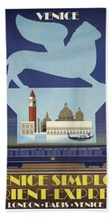 Venice, Simplon, Orient Express, Railway Poster Bath Towel