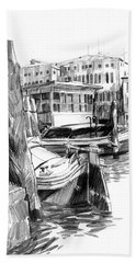 Venice Sketches. Vaporetto Jetty Bath Towel