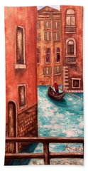 Hand Towel featuring the painting Venice by Annamarie Sidella-Felts