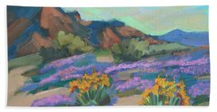Bath Towel featuring the painting Verbena And Spring by Diane McClary