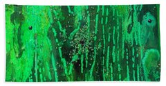 Hand Towel featuring the painting Verde Abstract by Carolyn Repka