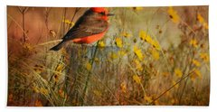 Vermilion Flycatcher At St. Marks Hand Towel