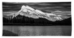 Vermillion Lakes And Mt Rundle Bw Hand Towel