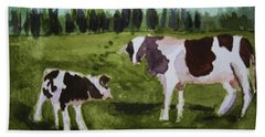 Bath Towel featuring the painting Vermont Cow And Calf by Donna Walsh