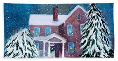 Bath Towel featuring the painting Vermont Studio Center In Winter by Donna Walsh