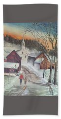 Hand Towel featuring the painting Vermont Village by Peter Suhocke
