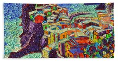 Vernazza Cinque Terre Italy 2 Modern Impressionist Palette Knife Oil Painting By Ana Maria Edulescu  Bath Towel