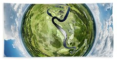 Bath Towel featuring the photograph Vernon Marsh Tiny Planet by Randy Scherkenbach