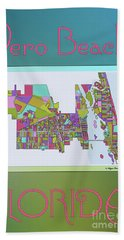 Vero Beach Map2 Hand Towel