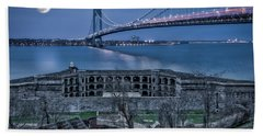 Hand Towel featuring the photograph Verrazano Narrows Bridge Full Moon by Susan Candelario