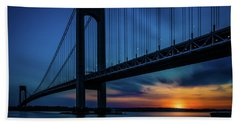 Hand Towel featuring the photograph Verrazano Sunset by Chris Lord
