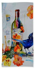 Bath Towel featuring the painting Still Life With Steller's Jay by Beverley Harper Tinsley