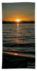 Vertical Sunset Lake Hand Towel