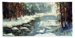 Very Cold Winter Watercolor Hand Towel