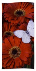 Very Red Daisies With Butterfly Bath Towel