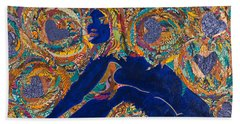 Hand Towel featuring the tapestry - textile Vesica  Pisces by Apanaki Temitayo M