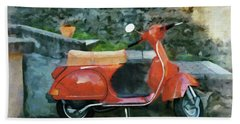Vespa Parked Hand Towel by Jeff Kolker
