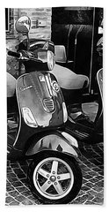 Vespa Twins Black And White Bath Towel
