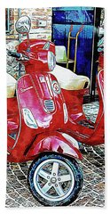 Vespa Twins Red Hand Towel
