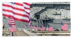 Veterans Day At Uss Yorktown Hand Towel