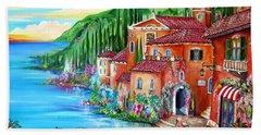 Via Positano By The Lake Hand Towel by Roberto Gagliardi