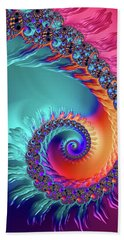 Vibrant And Colorful Fractal Spiral  Bath Towel