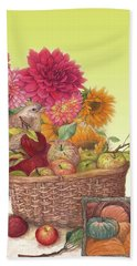 Hand Towel featuring the painting Vibrant Fall Florals And Harvest by Judith Cheng