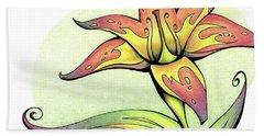 Vibrant Flower 4 Tiger Lily Bath Towel