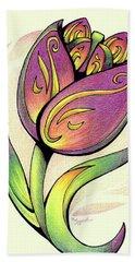 Vibrant Flower 5 Tulip Bath Towel