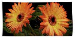Vibrant Gerbera Daisies Hand Towel by Terence Davis