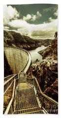 Vibrant River Dam Bath Towel