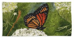 Viceroy Butterfly On Queen Anne's Lace Watercolor Batik Hand Towel