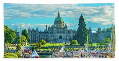 Victoria Bc Parliament Harbor Bath Towel