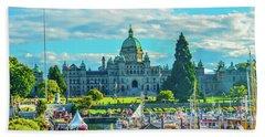 Victoria Bc Parliament Harbor Bath Towel