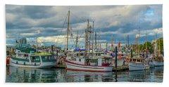 Victoria Harbor Boats Hand Towel