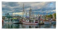Victoria Harbor Boats Bath Towel