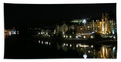 Victoria Harbor Night View Bath Towel